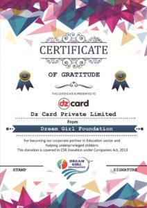Certificate of Gratitude DZ CArd